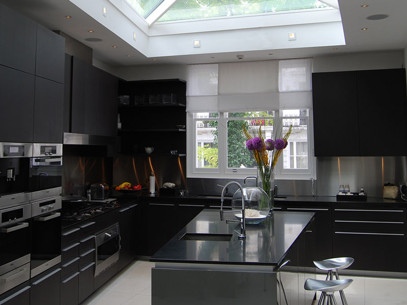 Contemporary 4-pane roof lantern sat above a modern kitchen