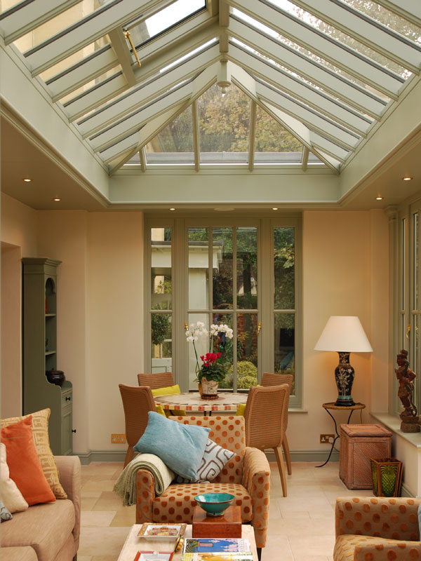 Orangery interior with roof lantern above