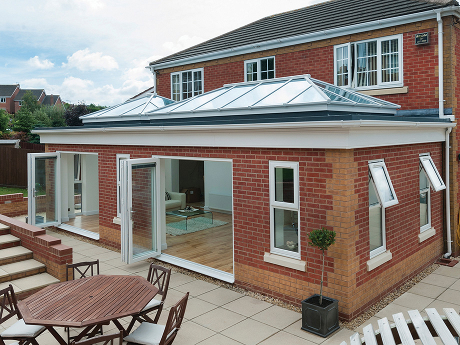 Orangery extension with aluminium roof lanterns