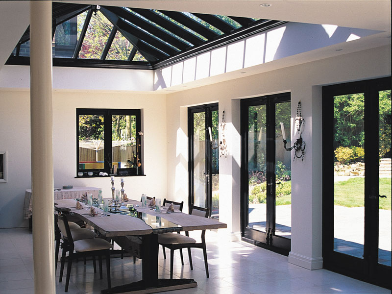 Orangery with black joinery and roof lantern