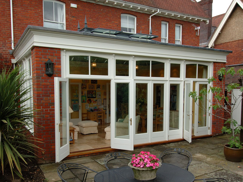 Orangery built with brick piers