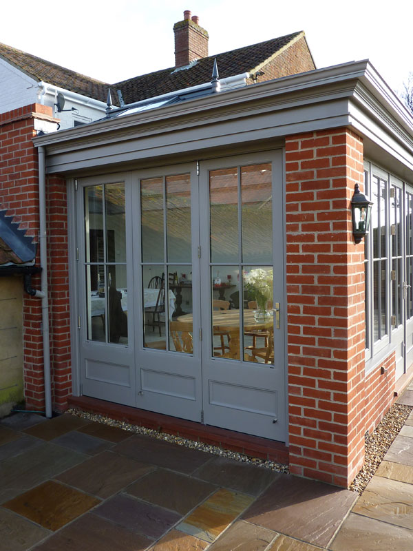 Side elevation of an orangery extension