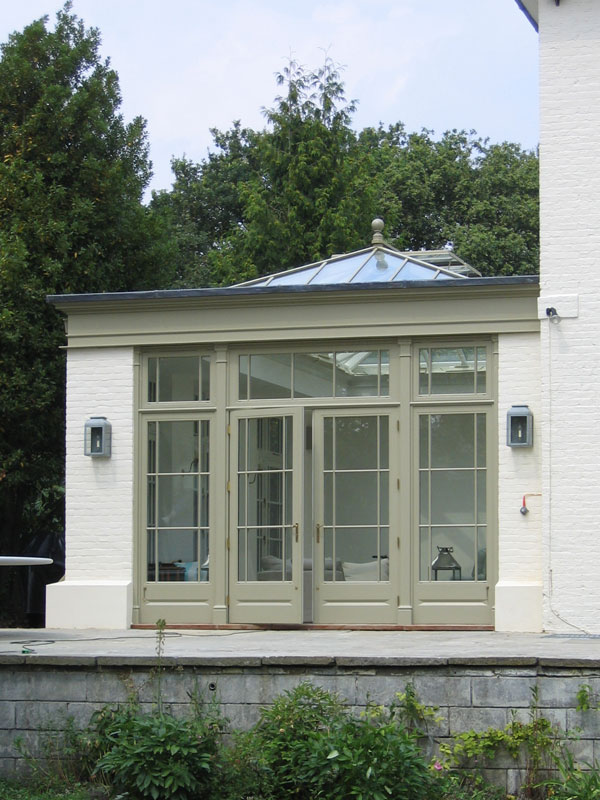 Orangery extension with brick corners