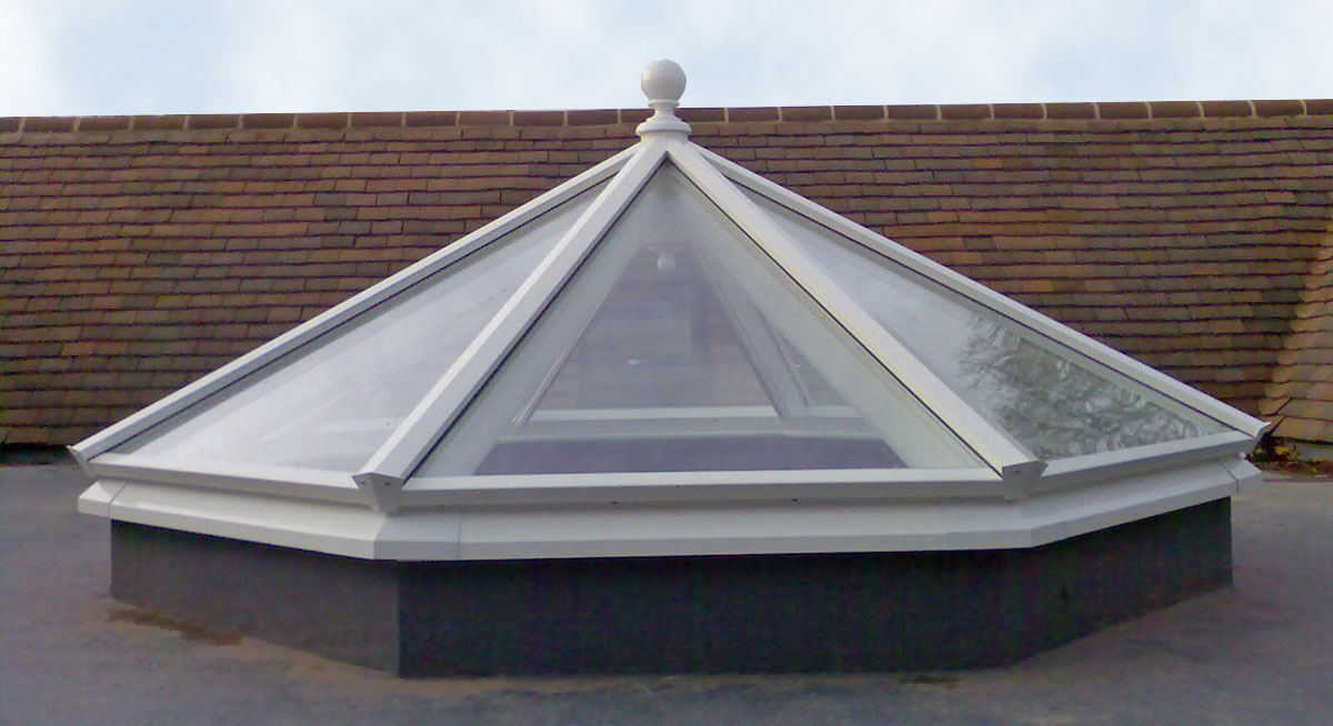 Beautiful octagonal roof lantern placed above a stairwell