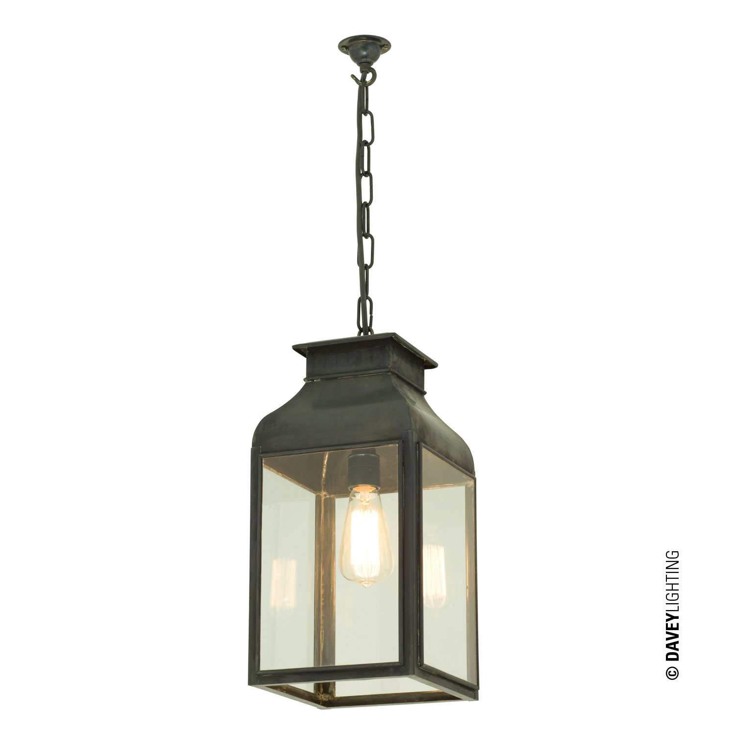 Pendant Lantern, Weathered Brass, Clear Glass