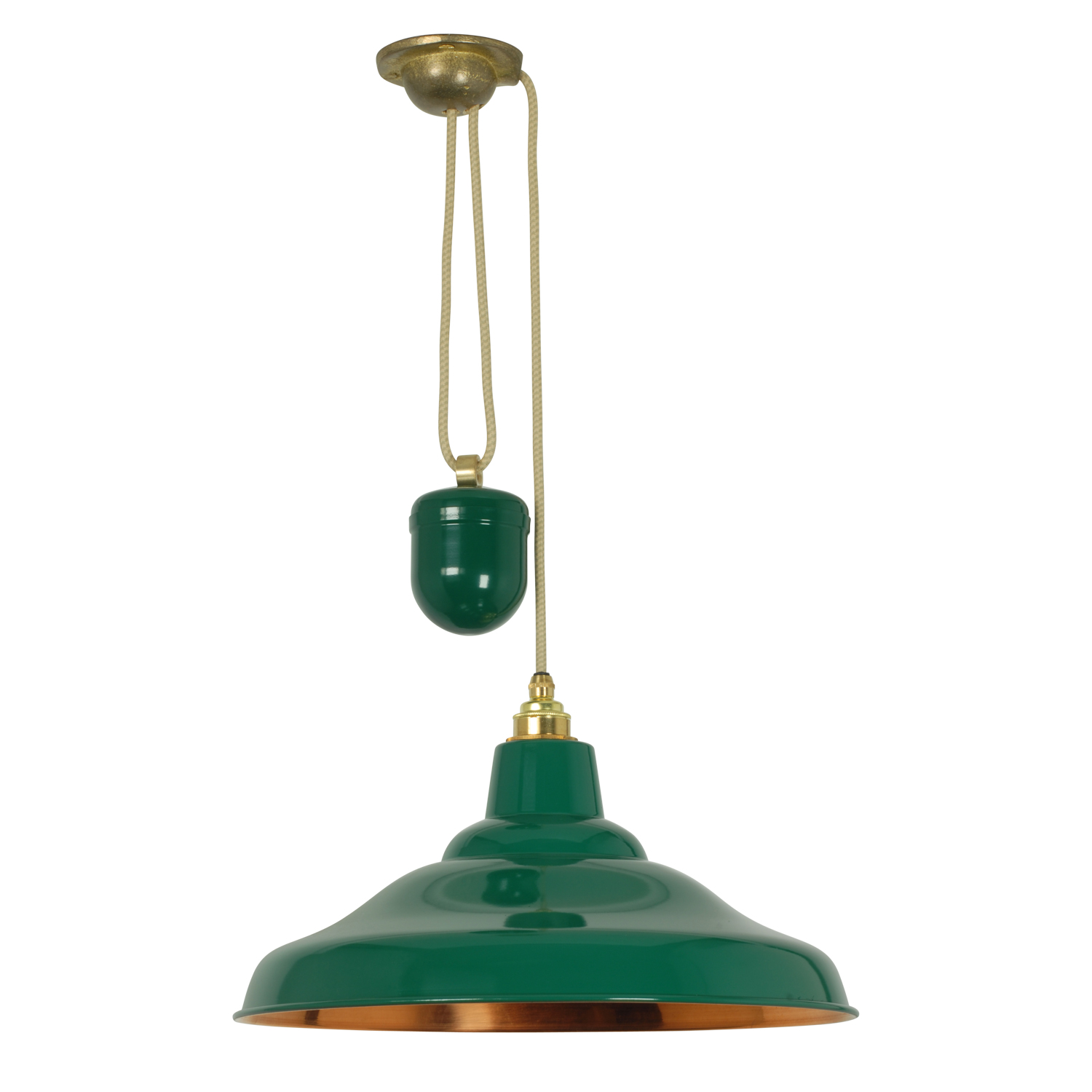School Light Painted Green, Polished Copper Interior