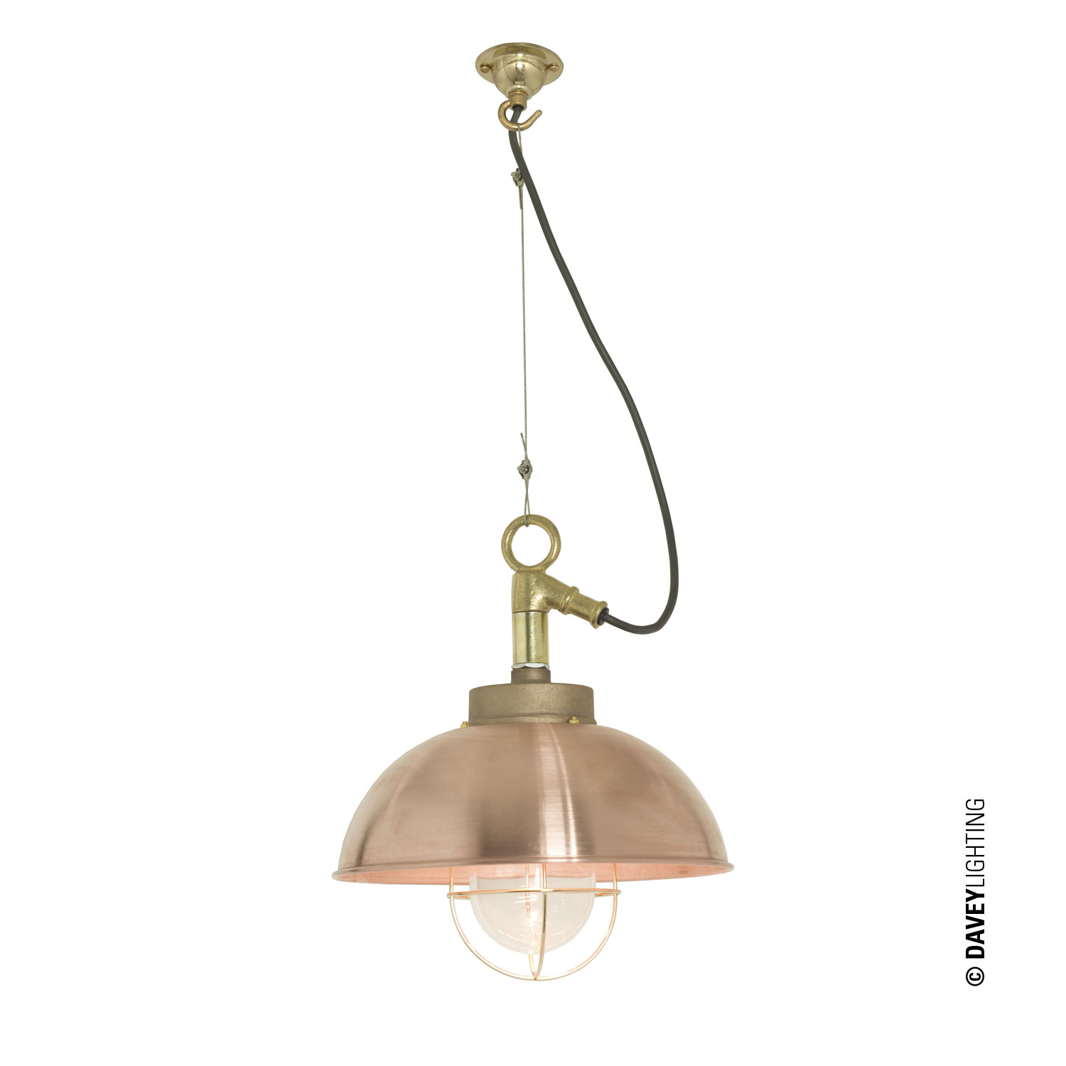 Shipyard Pendant, Copper, Clear Glass