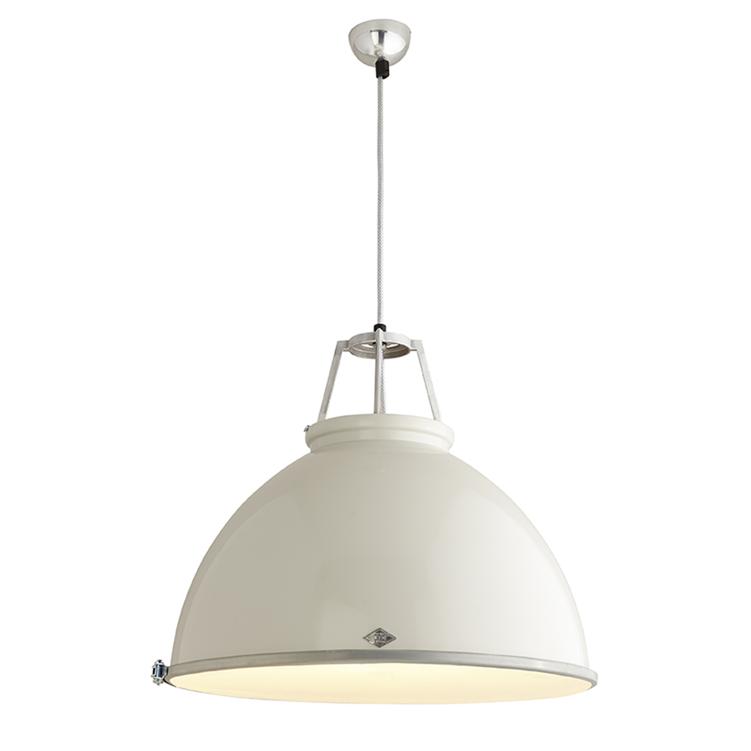 Titan Size 5 Pendant Light, Putty Grey with Etched Glass