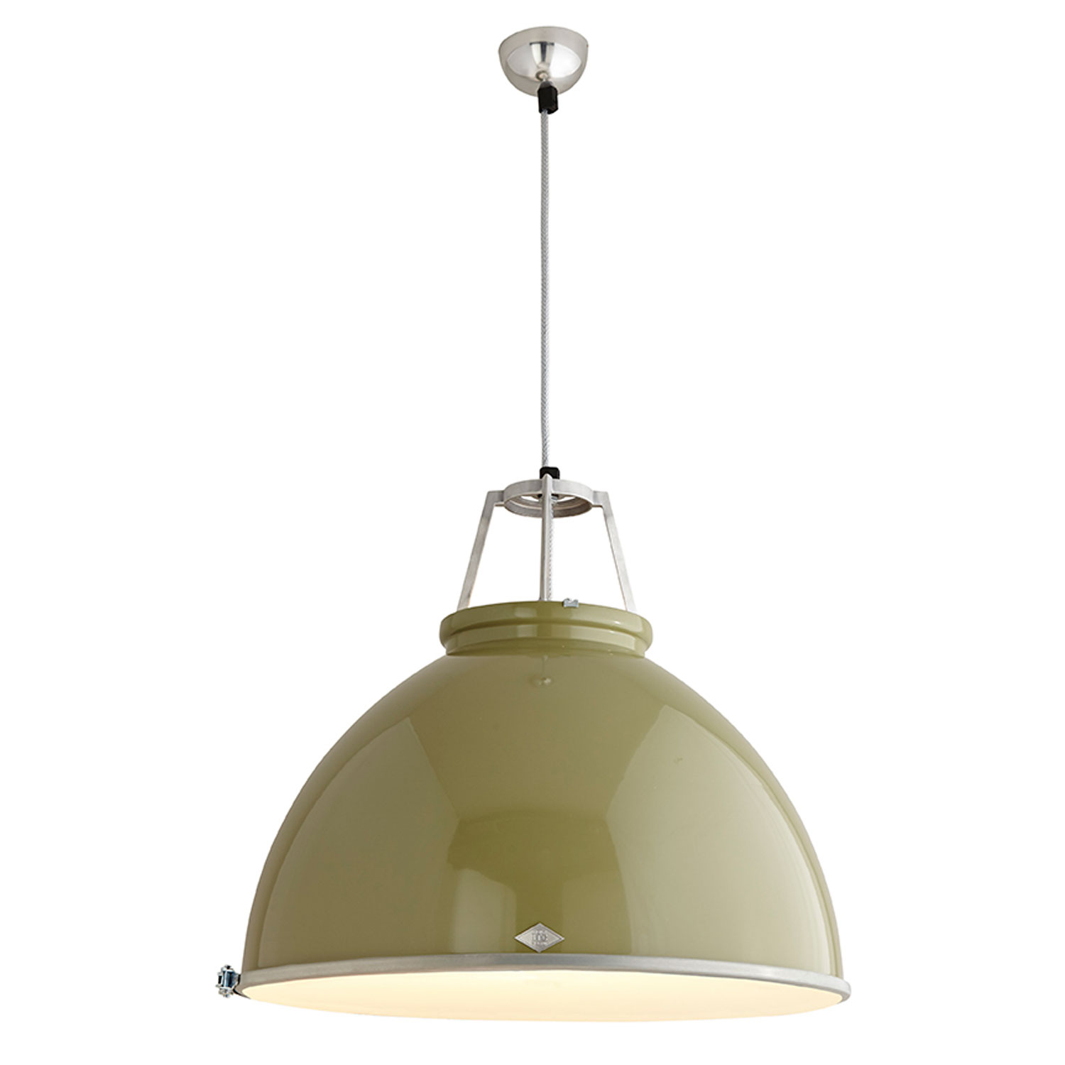 Titan Size 5 Pendant Light, Olive Green with Etched Glass
