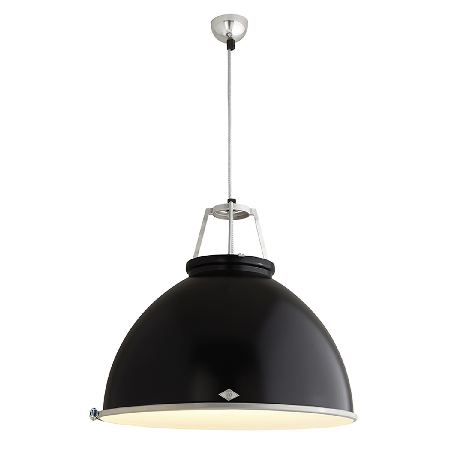Titan Size 5 Pendant Light, Black with Etched Glass