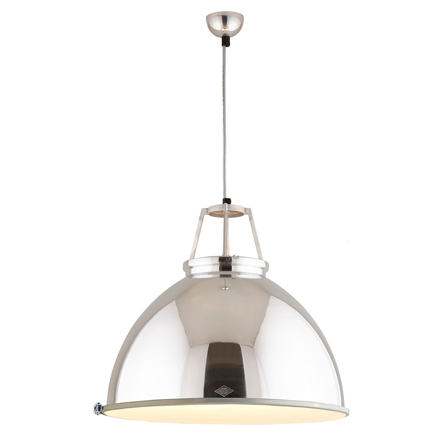 Titan Size 5 Pendant Light, Natural Aluminium with Etched Glass