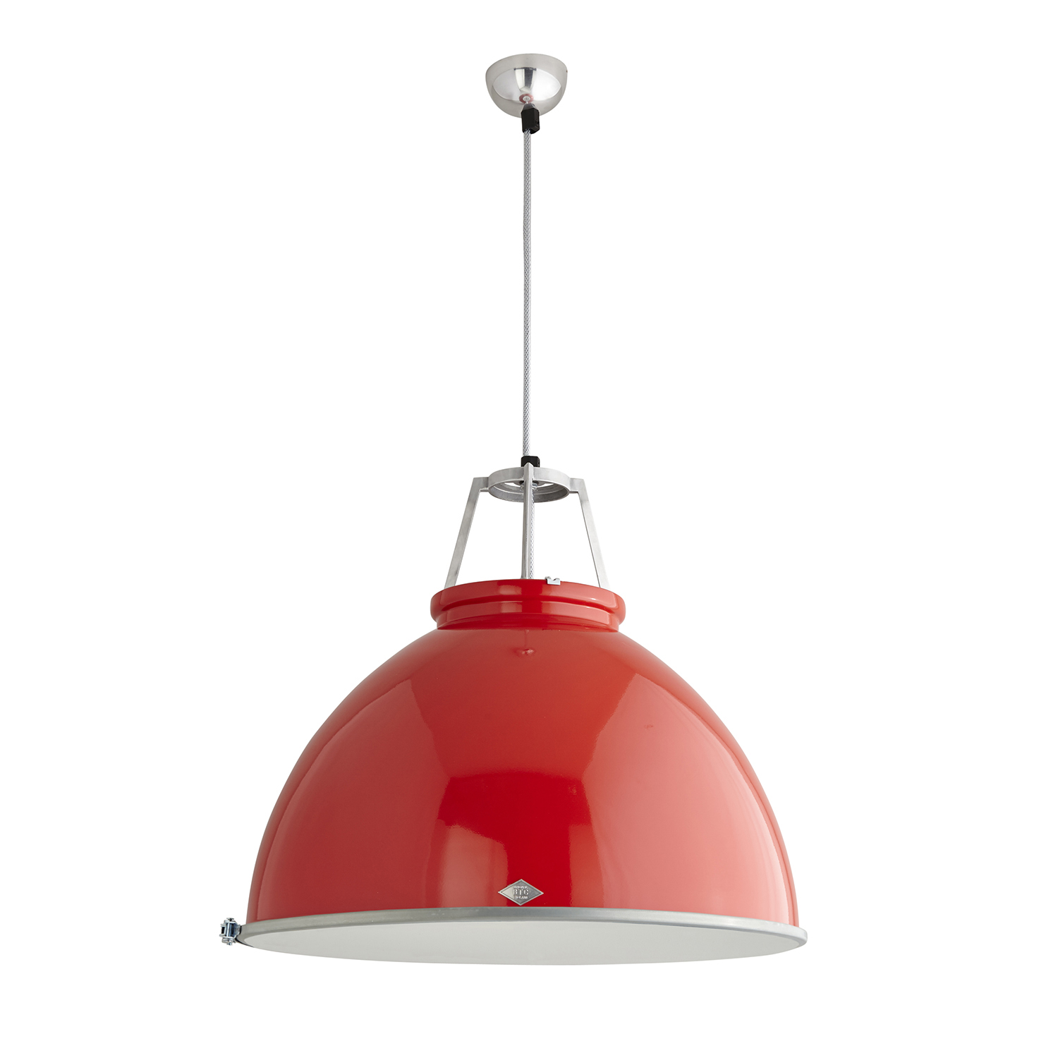 Titan Size 5 Pendant Light, Red with Etched Glass