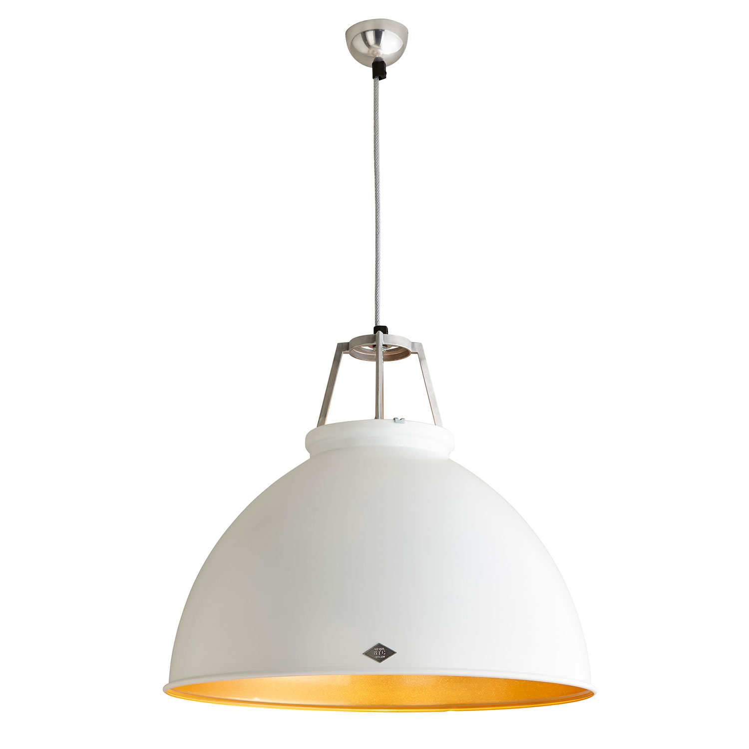 Titan Size 5 Pendant Light, White with Gold Interior