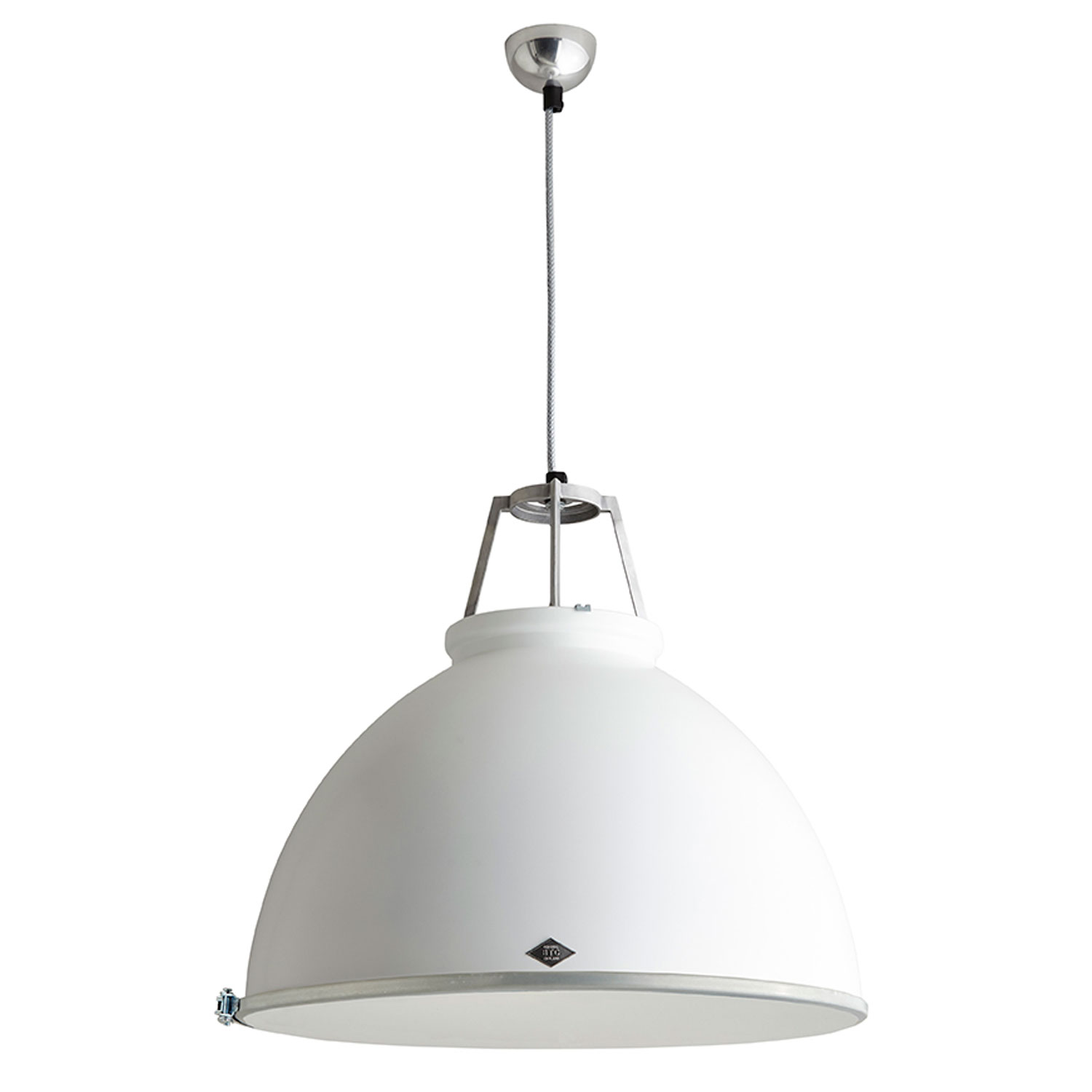 Titan Size 5 Pendant Light, White with Etched Glass