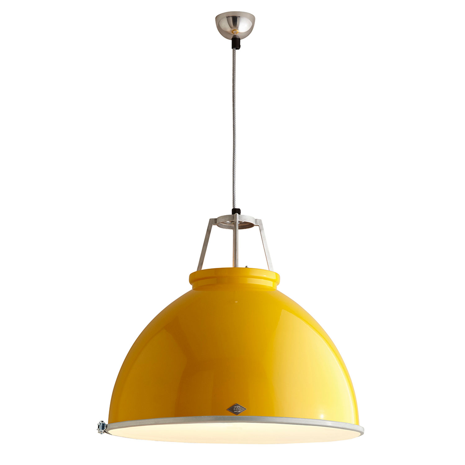 Titan Size 5 Pendant Light, Yellow with Etched Glass
