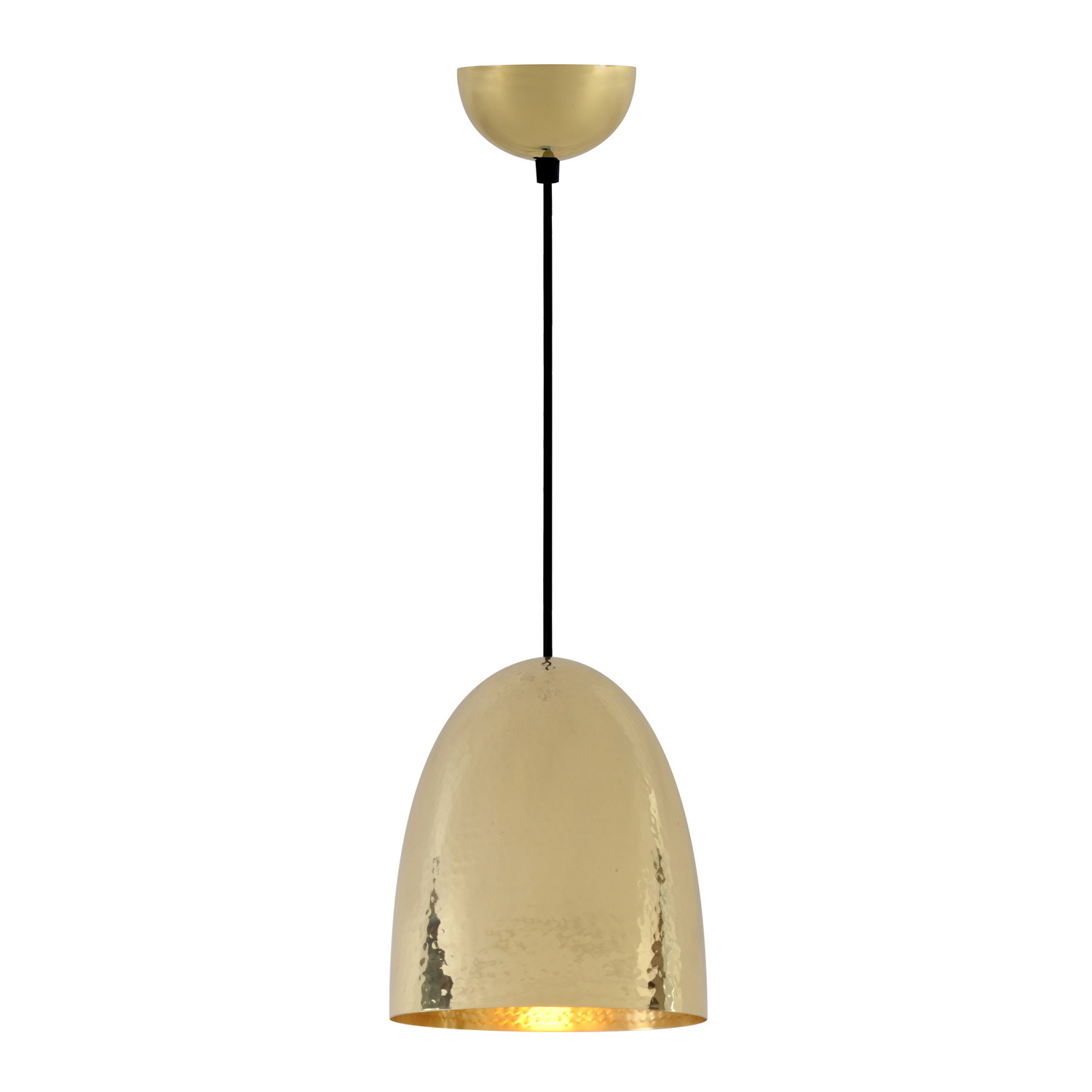 Stanley Medium Pendant Light, Hammered Brass