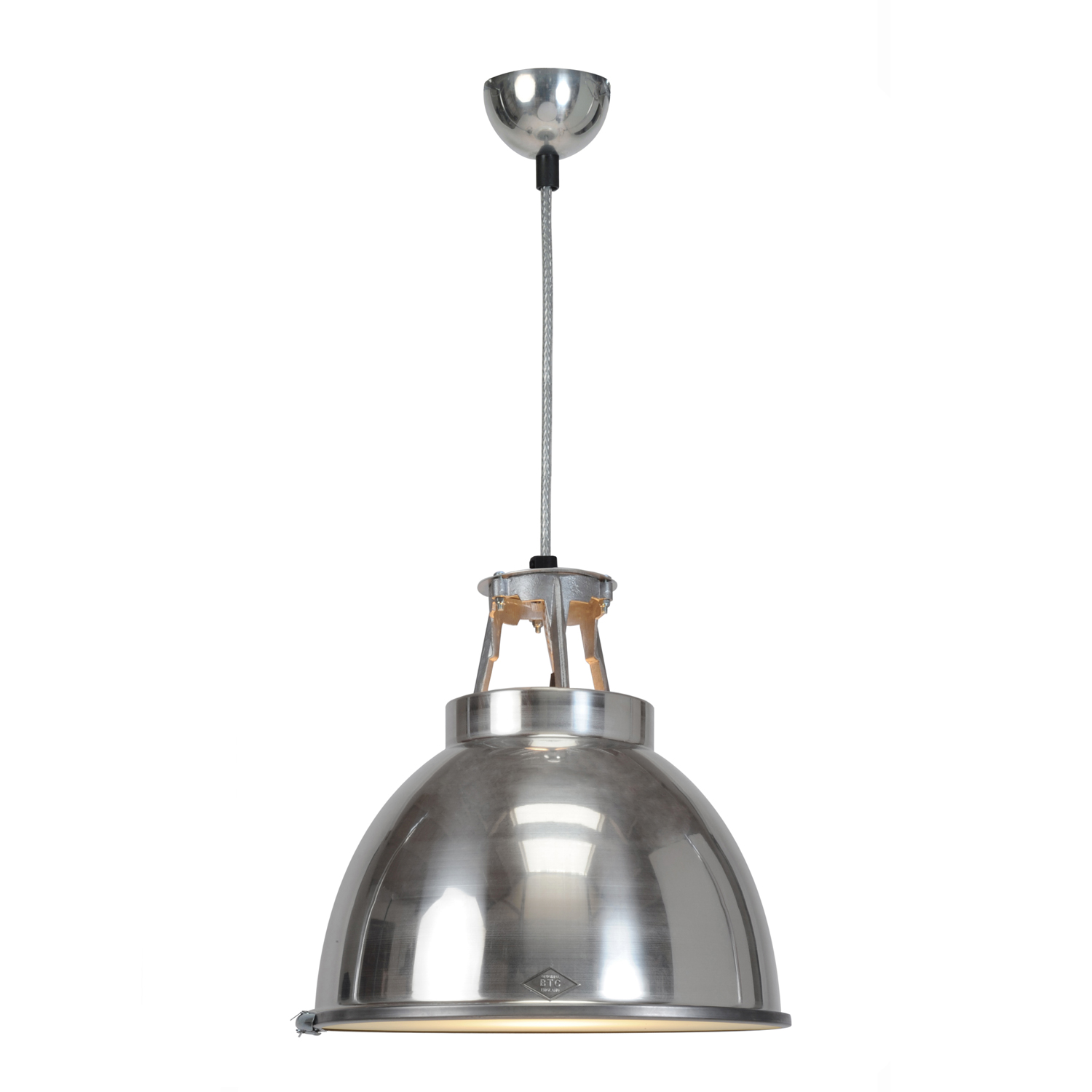 Titan Size 1 Pendant Light, Natural Aluminium with Etched Glass1