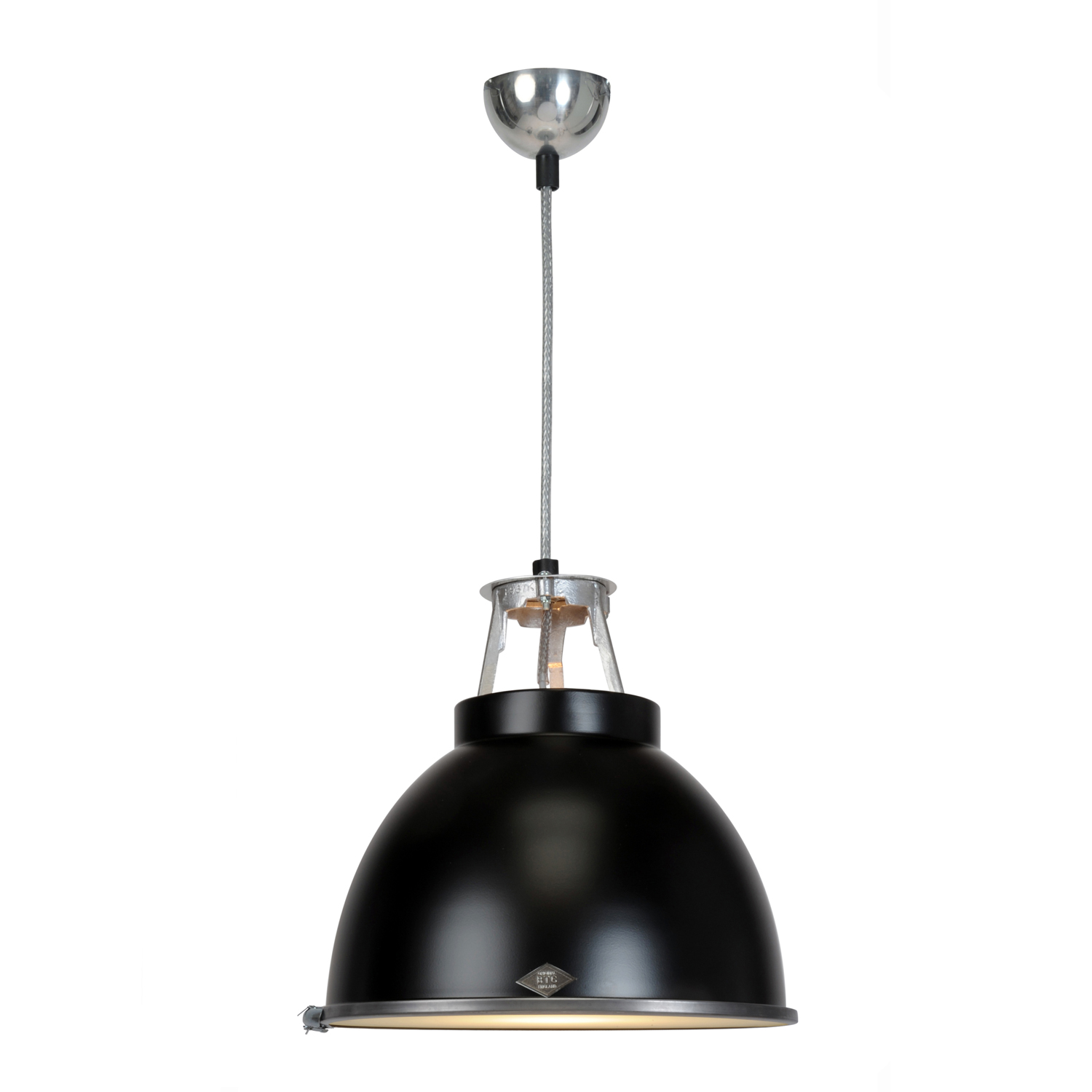 Titan Size 1 Pendant Light, Black with Etched Glass