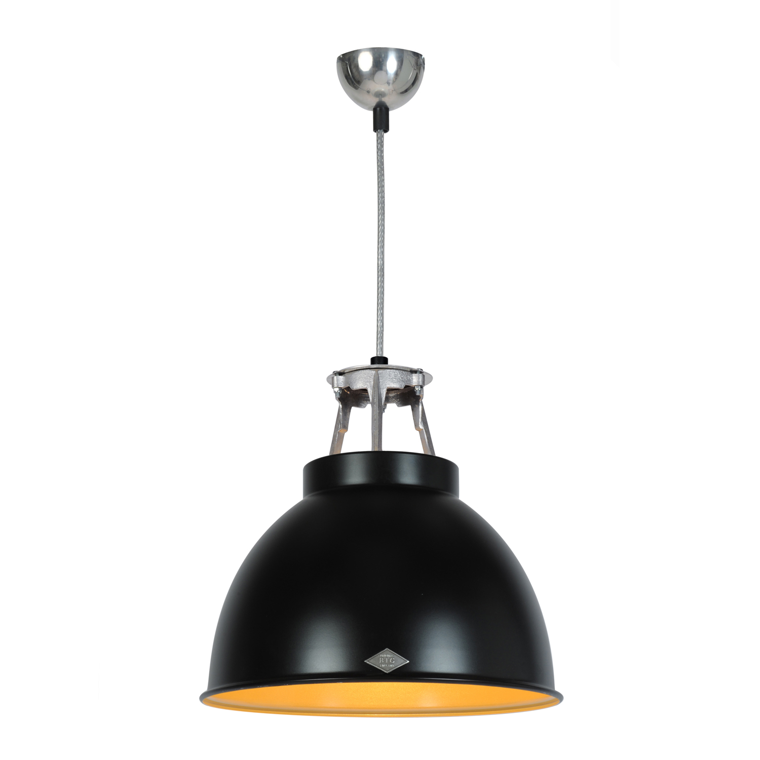 Titan Size 1 Pendant Light, Black/Bronze Interior