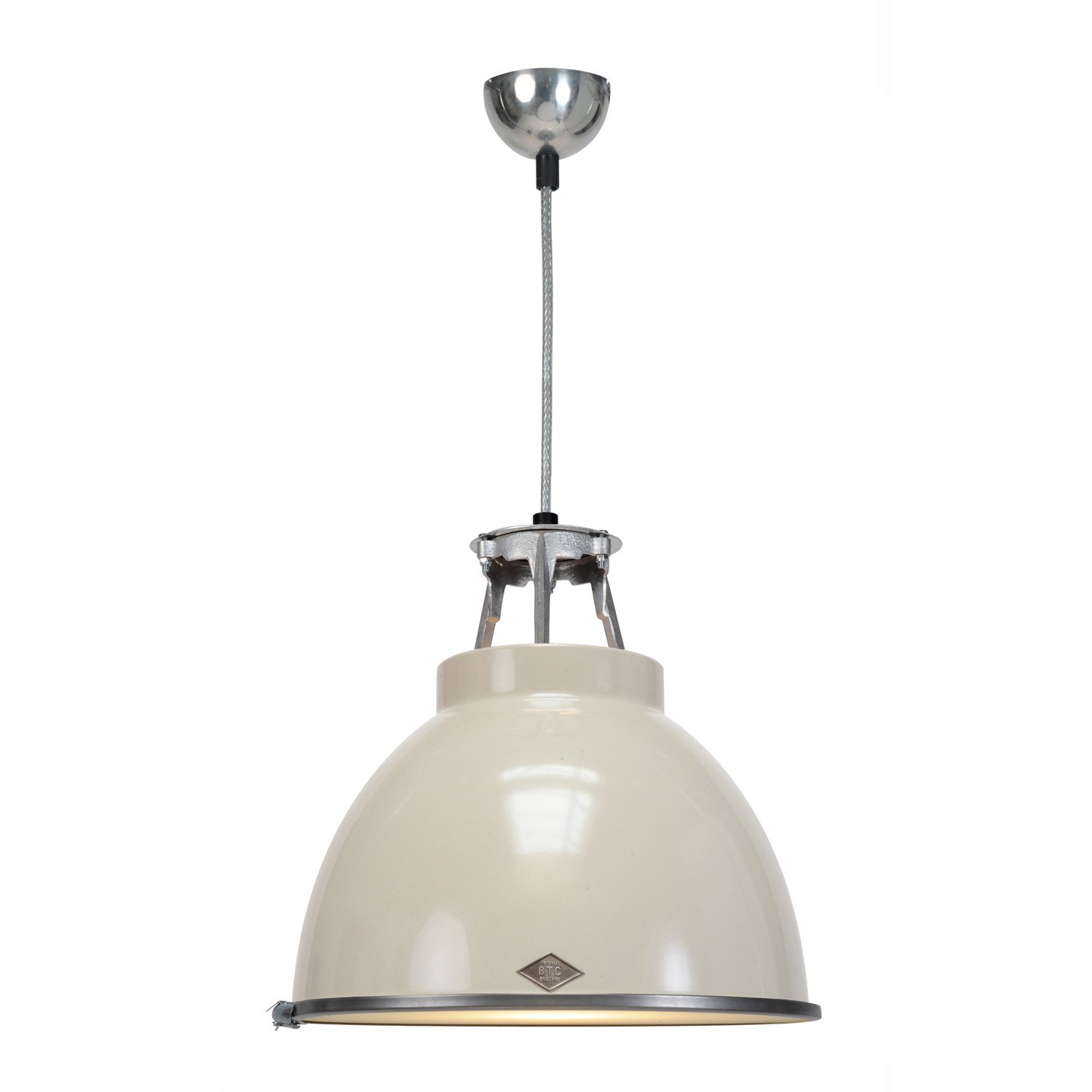 Titan Size 1 Pendant Light, Putty Grey with Etched Glass