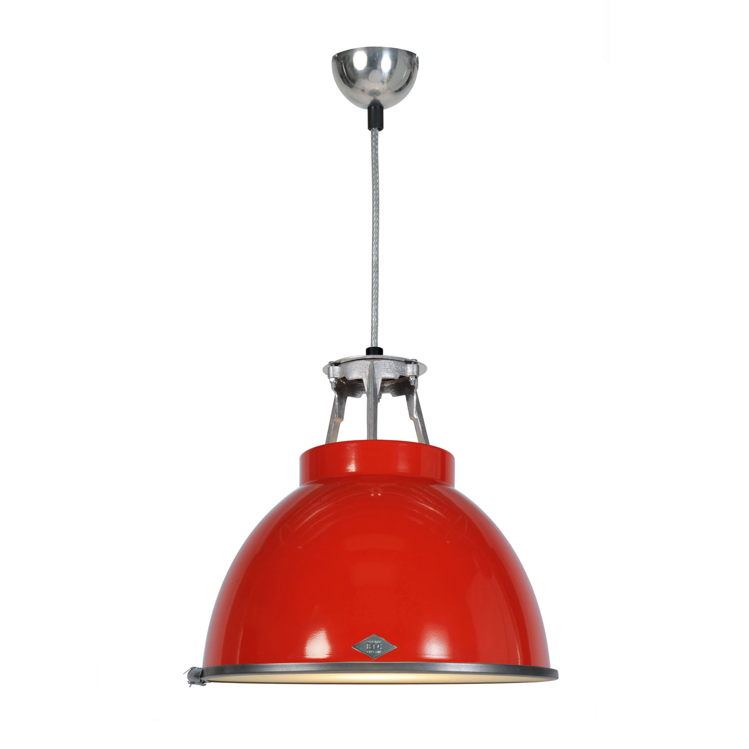 Titan Size 1 Pendant Light, Red with Etched Glass