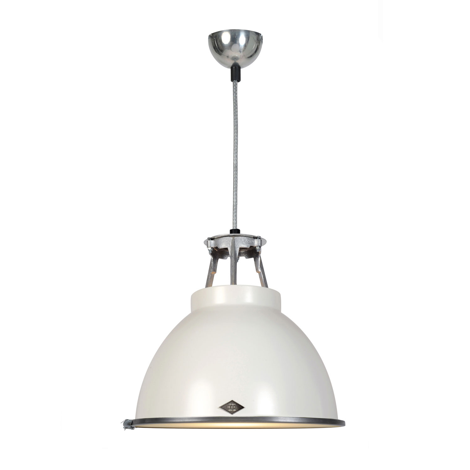 Titan Size 1 Pendant Light, White with Etched Glass