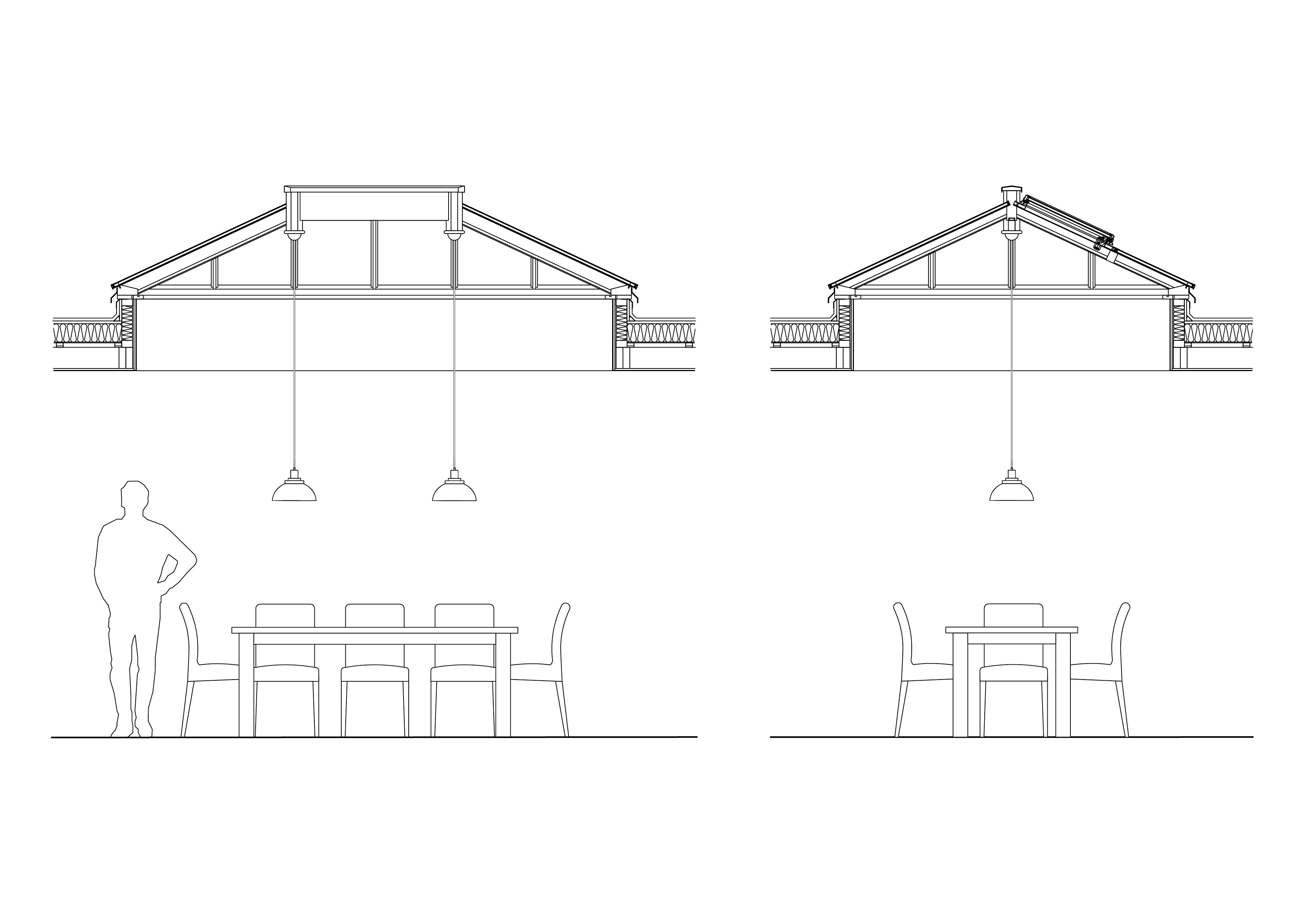 Section drawings showing pendant lights hanging from roof lantern