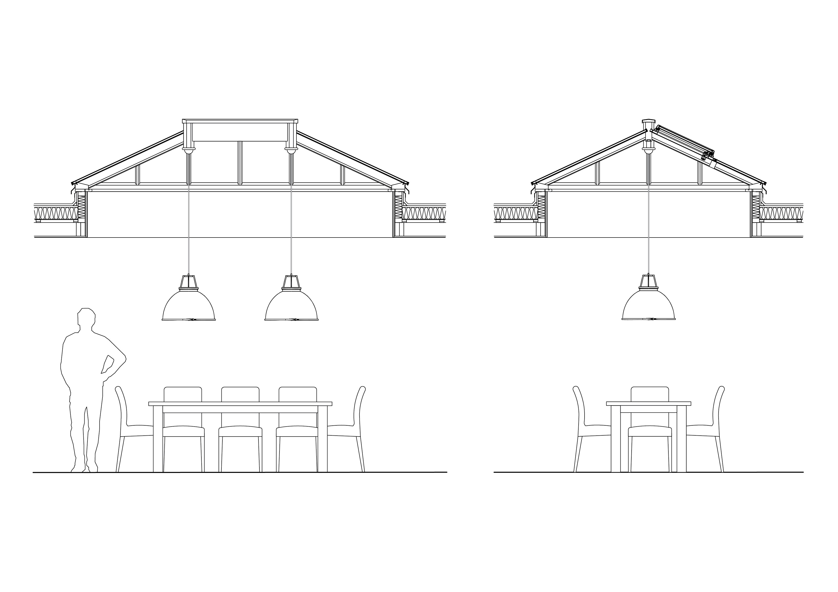 Drawing of Titan pendant lights hanging from roof lantern