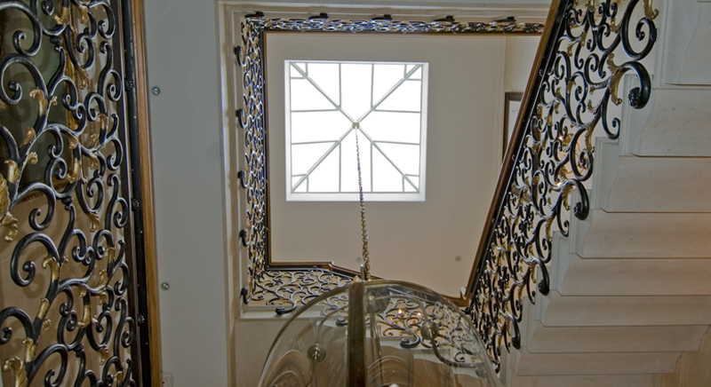 Pyramid roof lantern above a stairwell