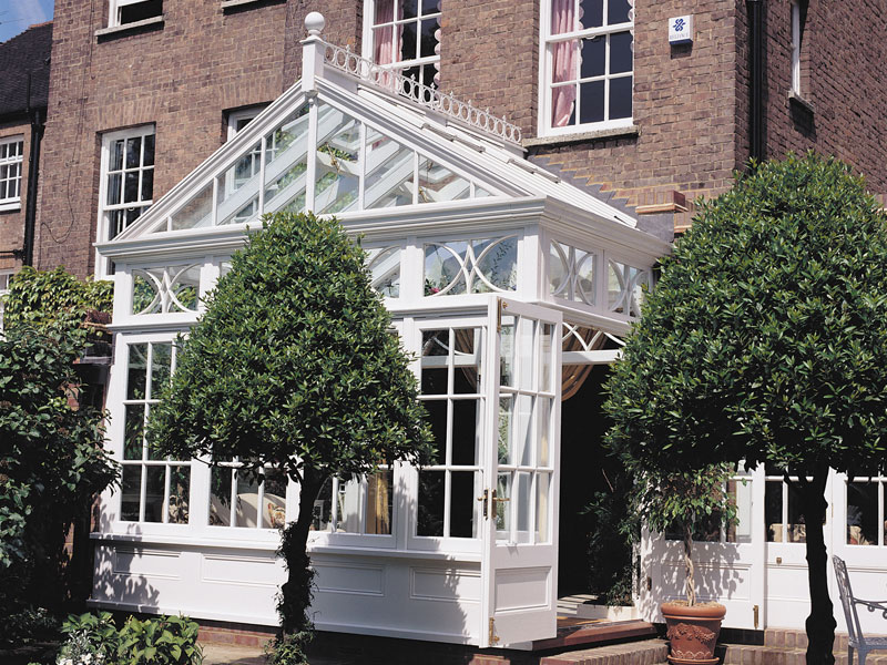 An example of a timber framed conservatory with traditional detailing