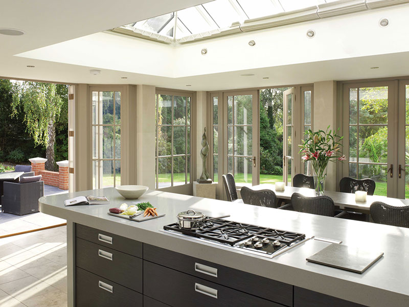 Traditional styles timber roof lantern and joinery works beautifully with a modern kitchen